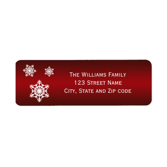 Red and White Trio of Snowflakes Return Address Label