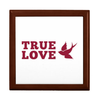Red And White True Love And Bird Gift Box
