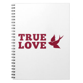Red And White True Love And Bird Notebook