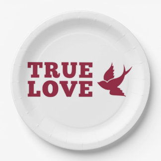 Red And White True Love And Bird Paper Plate