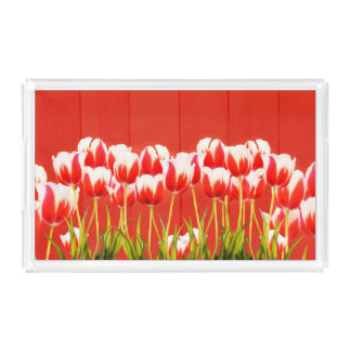 Red and white tulips acrylic tray