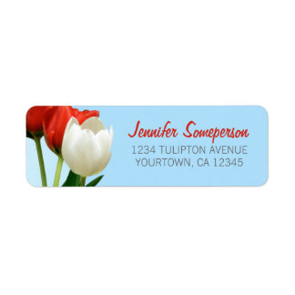 Red and White Tulips Address Labels
