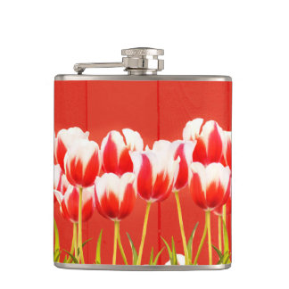 Red and white tulips hip flask