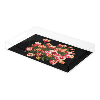 Red and White Tulips Rectangle Tray