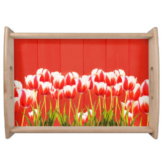 Red and white tulips serving tray