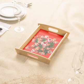 Red and White Tulips Small Serving Tray