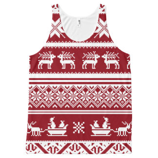 Red and White Ugly Christmas Sweater Patterns All-Over Print Singlet