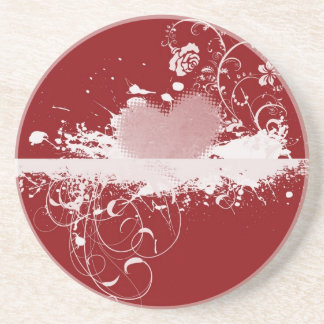 Red and White Valentine's Heart Pattern Gifts Coaster