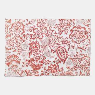 Red and White Vintage Floral Print Hand Towels