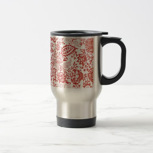 Red and White Vintage Floral Print Mug