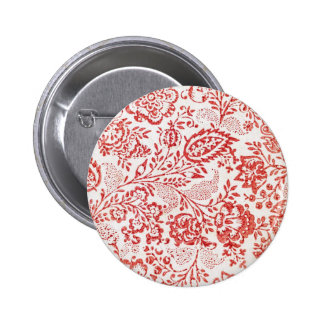 Red and White Vintage Floral Print Pin