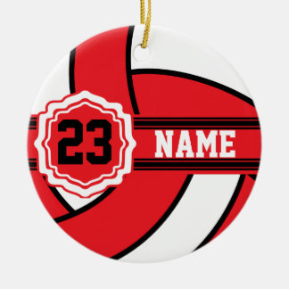 Red and White Volleyball with DIY Text Round Ceramic Decoration
