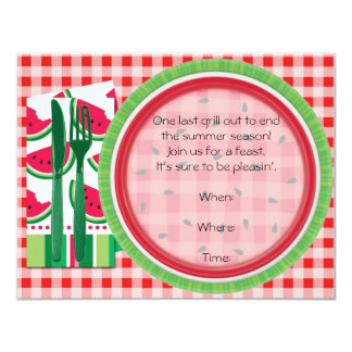 Red and White Watermelon Picnic Table Setting Card