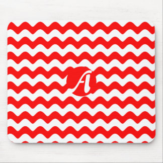 Red and White Waves Monogram Mouse Pad
