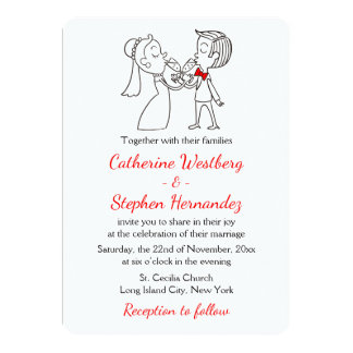 Red And White Wedding Bride & Groom Cartoon 13 Cm X 18 Cm Invitation Card