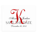 Red and White Wedding Monogram Announcement Card Postcard