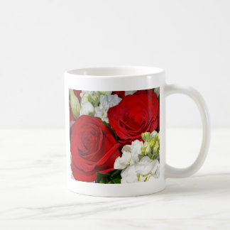 Red and white wedding roses bouquet coffee mug