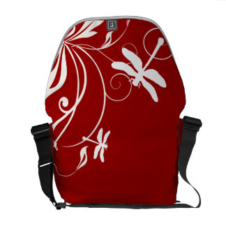 Red and White Whimsical Dragonfly Messenger Bag