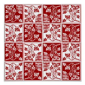 Red and White Wild Flower Square Block Tiled Posters