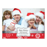 Red and White Winter Snowflakes Photo Holiday Card Custom Invite