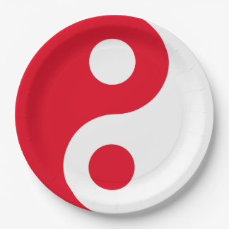 Red and White Yin Yang Paper Plate