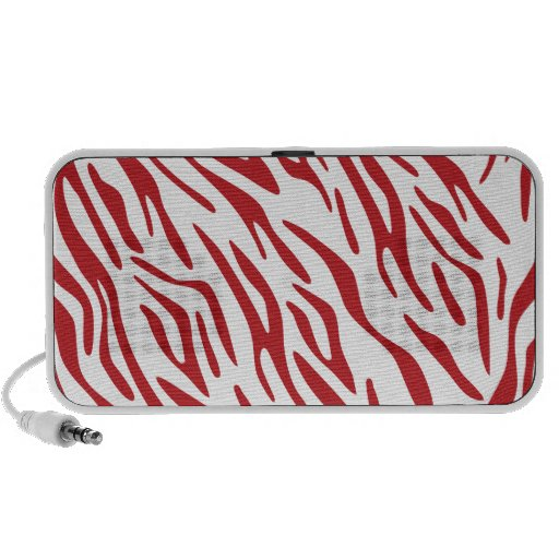 Red and White Zebra Stripe Doodle Speakers