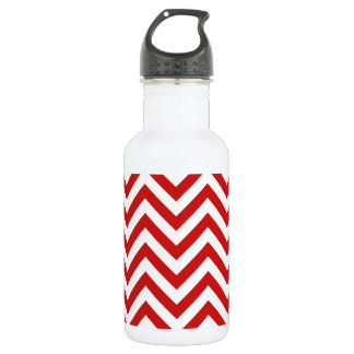 Red and White Zigzag Stripes Chevron Pattern 532 Ml Water Bottle