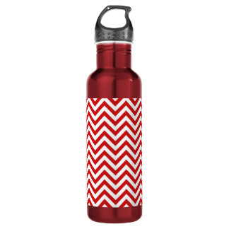 Red and White Zigzag Stripes Chevron Pattern 710 Ml Water Bottle