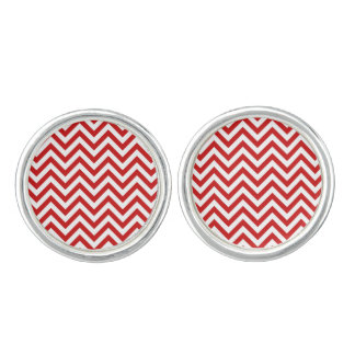 Red and White Zigzag Stripes Chevron Pattern Cufflinks