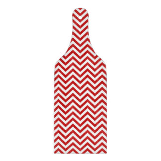 Red and White Zigzag Stripes Chevron Pattern Cutting Board