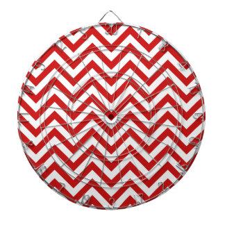 Red and White Zigzag Stripes Chevron Pattern Dartboard