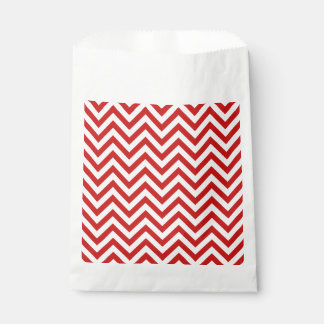 Red and White Zigzag Stripes Chevron Pattern Favour Bag