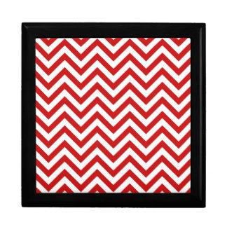 Red and White Zigzag Stripes Chevron Pattern Gift Box