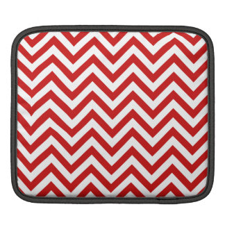 Red and White Zigzag Stripes Chevron Pattern iPad Sleeve