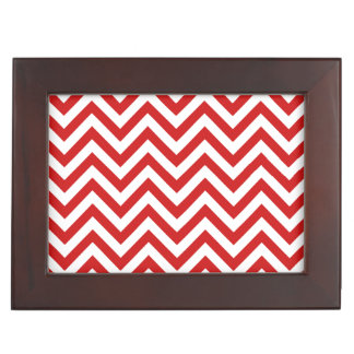 Red and White Zigzag Stripes Chevron Pattern Keepsake Box