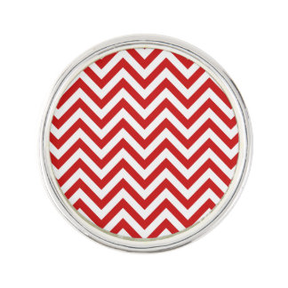 Red and White Zigzag Stripes Chevron Pattern Lapel Pin