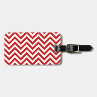 Red and White Zigzag Stripes Chevron Pattern Luggage Tag