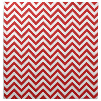 Red and White Zigzag Stripes Chevron Pattern Napkin