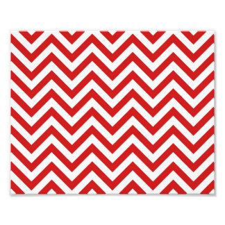 Red and White Zigzag Stripes Chevron Pattern Photo Print