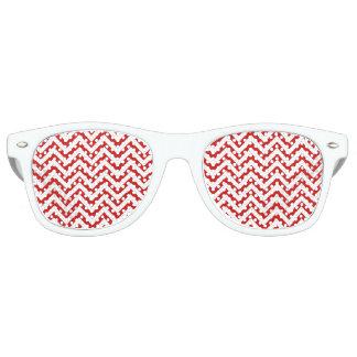Red and White Zigzag Stripes Chevron Pattern Retro Sunglasses