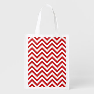Red and White Zigzag Stripes Chevron Pattern Reusable Grocery Bag