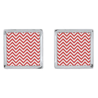Red and White Zigzag Stripes Chevron Pattern Silver Finish Cufflinks
