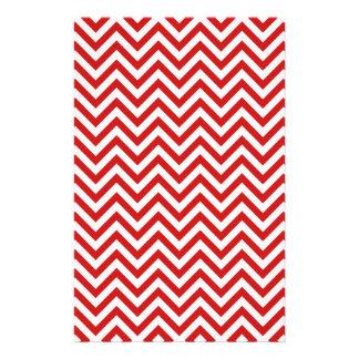 Red and White Zigzag Stripes Chevron Pattern Stationery