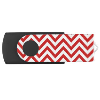 Red and White Zigzag Stripes Chevron Pattern USB Flash Drive