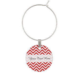 Red and White Zigzag Stripes Chevron Pattern Wine Charm