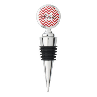 Red and White Zigzag Stripes Chevron Pattern Wine Stopper