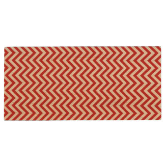 Red and White Zigzag Stripes Chevron Pattern Wood USB Flash Drive