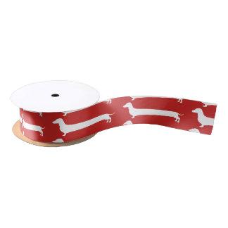 Red and whiteDachshund silhouette satin ribbon