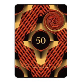 Red and Yellow 50th Birthday 13 Cm X 18 Cm Invitation Card