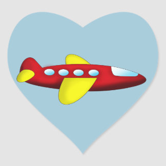 Red and Yellow Airplane Heart Sticker